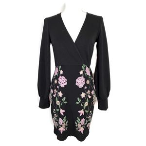 ASOS Faux Wrap Dress Black Floral Long Sleeve